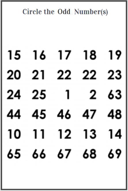 odd numbers worksheet