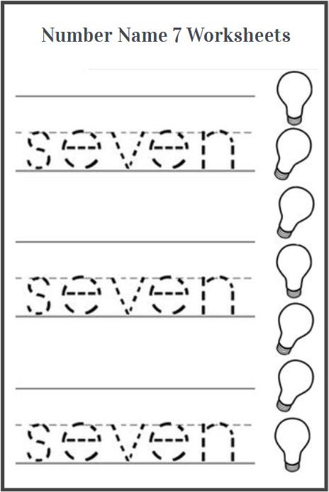 sight word seven tracing sheet