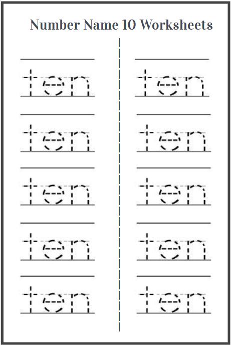 sight word ten tracing sheet