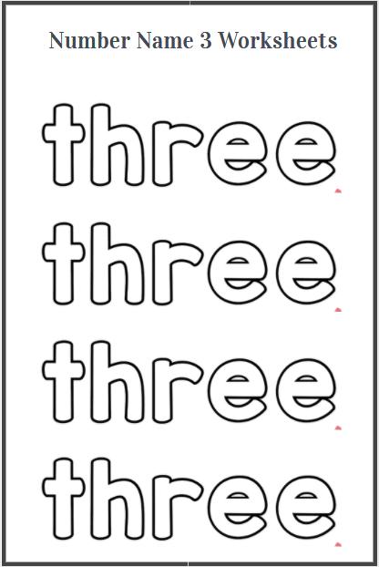 sight word three tracing worksheet