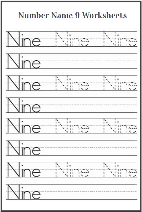 trace word nine worksheet