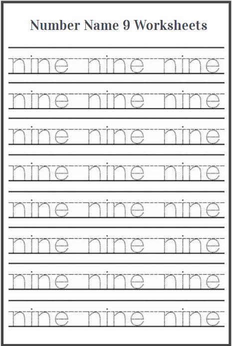 trace word nine worksheets