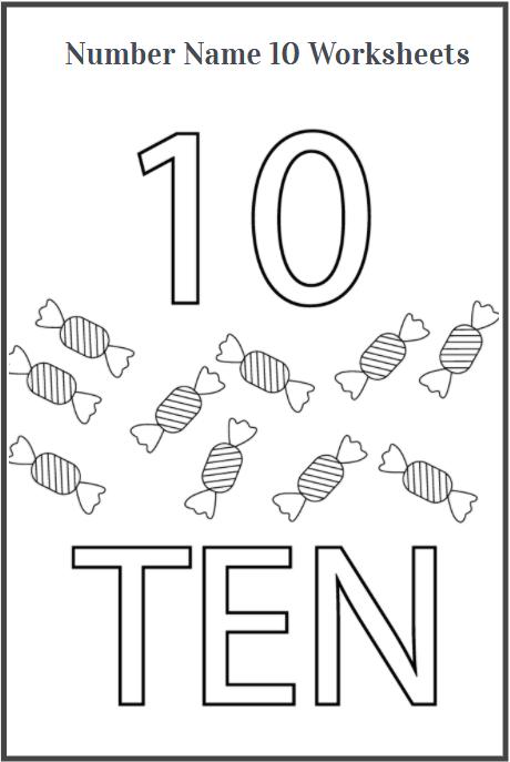 trace word ten worksheet