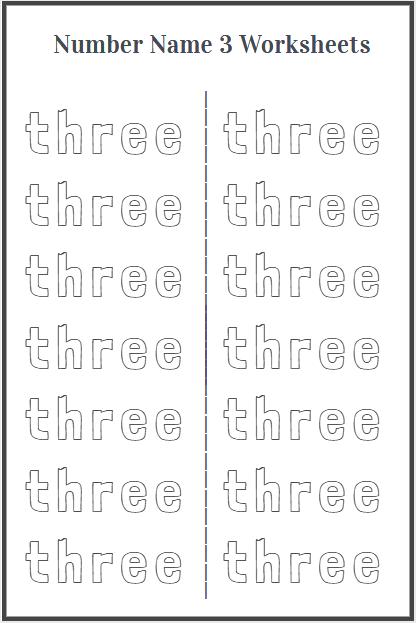 trace word three worksheet