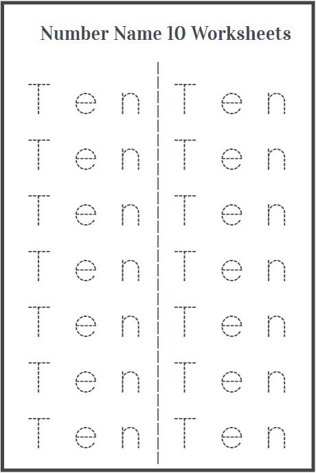 word tracing ten