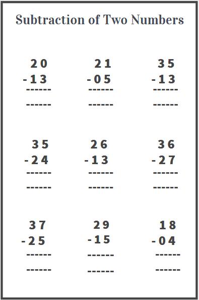 2 digit subtraction worksheet