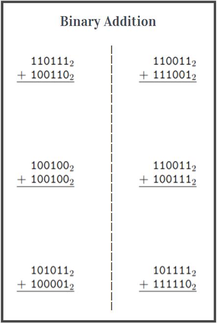 adding binary numbers worksheet