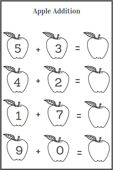 apple addition worksheets for practice