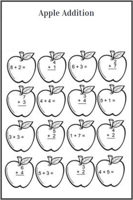 apple addition worksheets free download