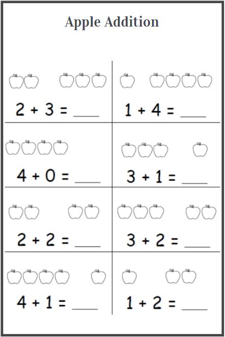 apple addition worksheets