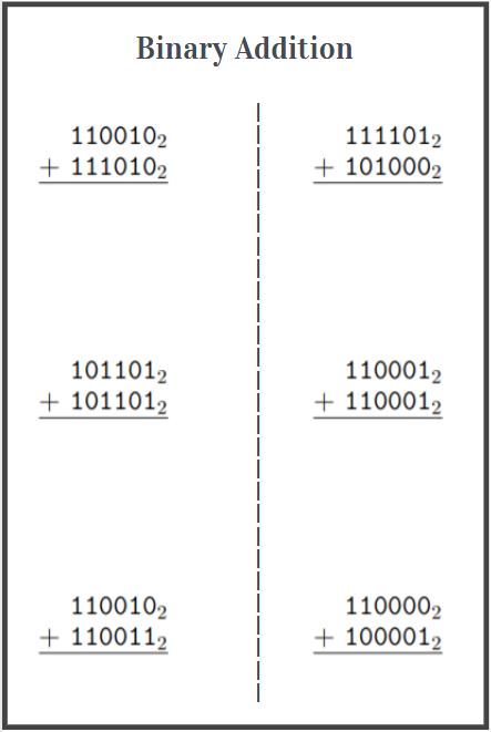 binary addition worksheet free download