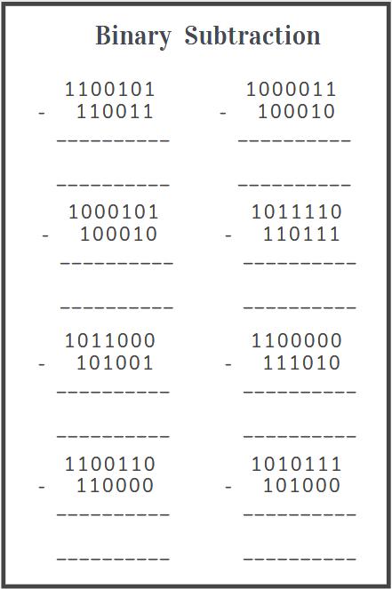 binary subtraction worksheet free download