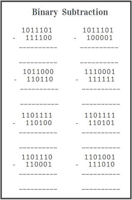binary subtraction worksheet