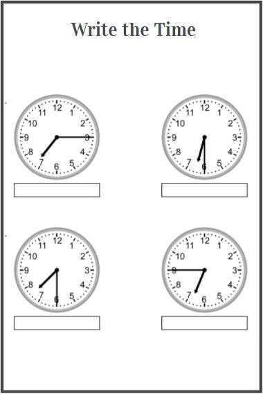 clock worksheets free download