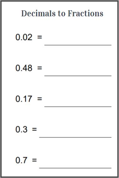 convert decimals to fractions worksheets