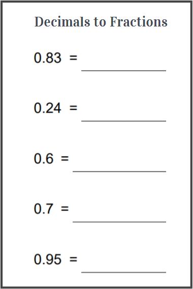 decimal to fractions worksheet