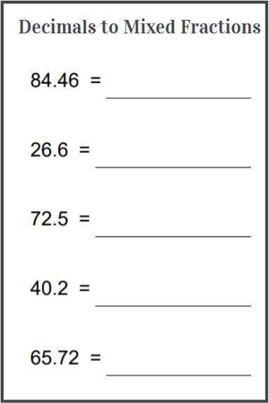 decimal to mixed fraction worksheet