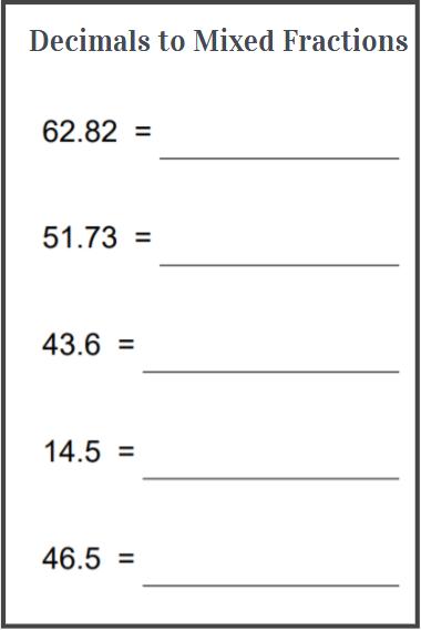 decimals to mixed fractions worksheet