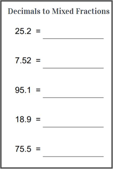 decimals to mixed fractions