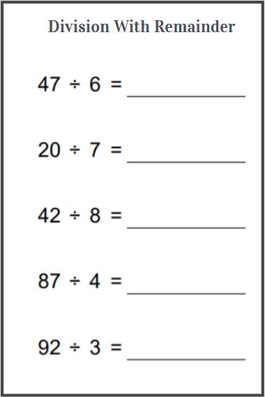 division with remainder worksheet