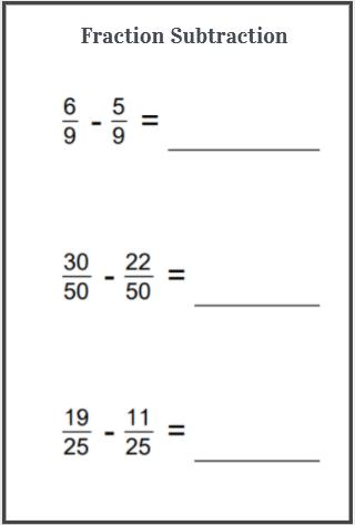 fraction subtraction worksheet