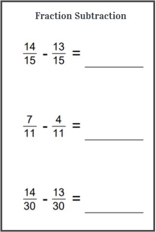 fraction subtraction worksheets