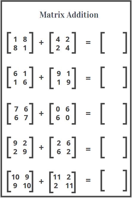 free worksheets on addition of matrix