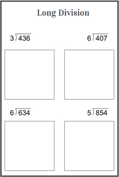 grade 4 long division worksheets