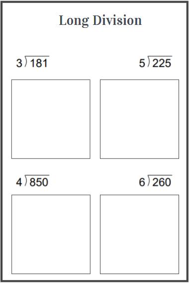 long division problems worksheets