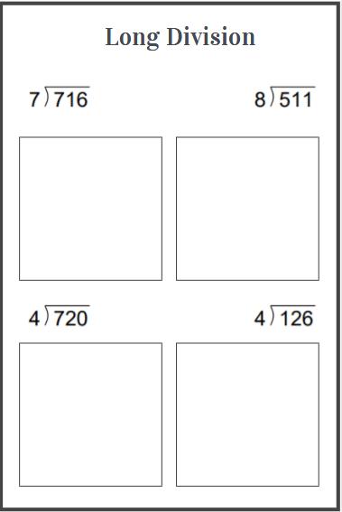long division with remainder worksheet