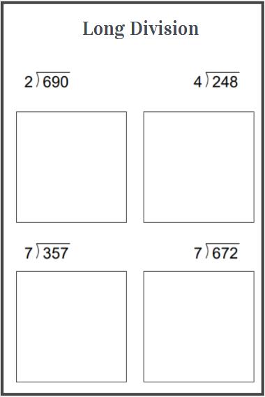 long division worksheets examples
