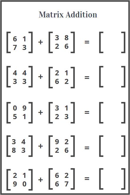 matrix addition worksheet free download