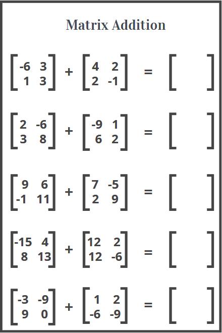 matrix addition worksheet free printable