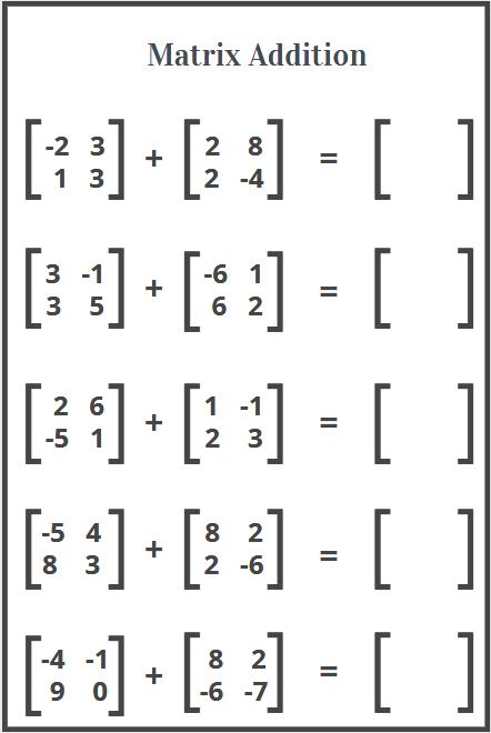 matrix addition worksheets free printable