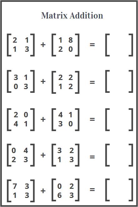 matrix addition worksheets