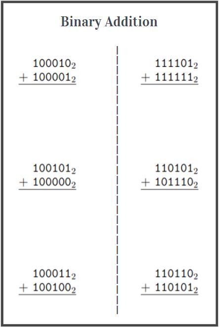 printable binary addition worksheet