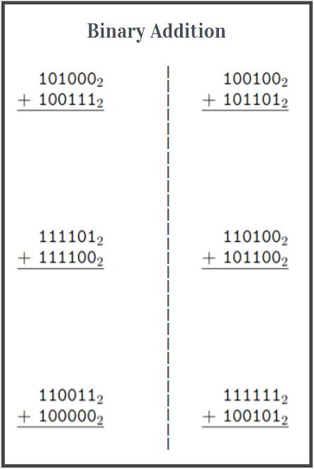 printable binary addition worksheets