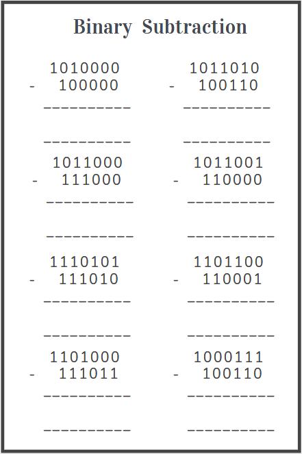 printable binary subtraction worksheet