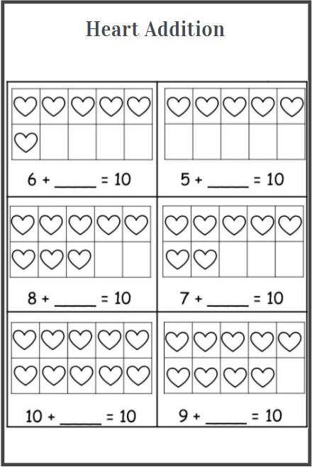 printable heart addition worksheet