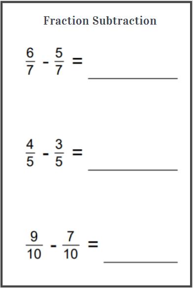 printable subtraction fraction worksheets