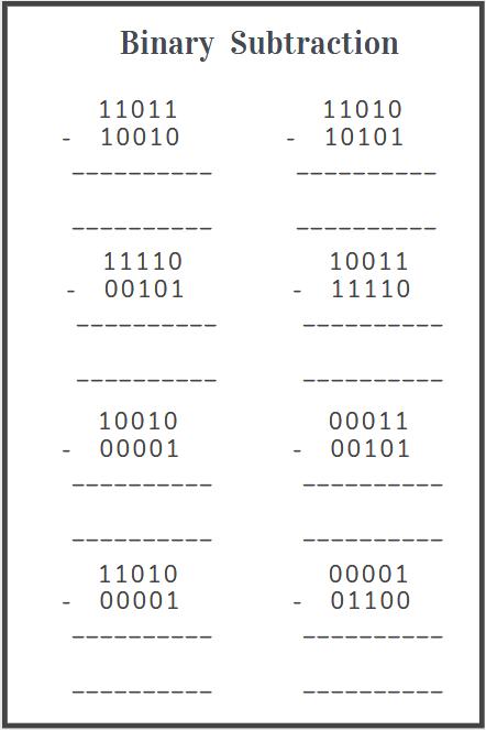subtracting binary numbers worksheet