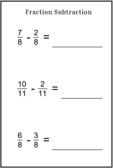 subtraction fraction worksheet