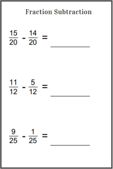 subtraction fractions worksheet