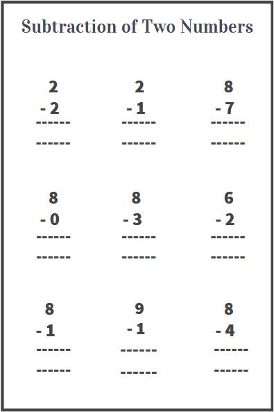 subtraction of 1 digit numbers worksheet
