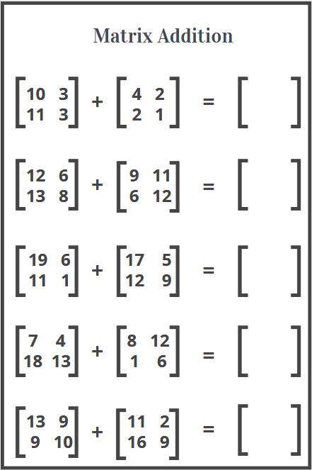 worksheet on addition of matrix