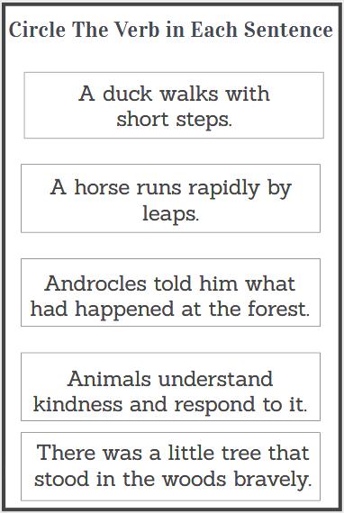 circle the action verbs worksheet