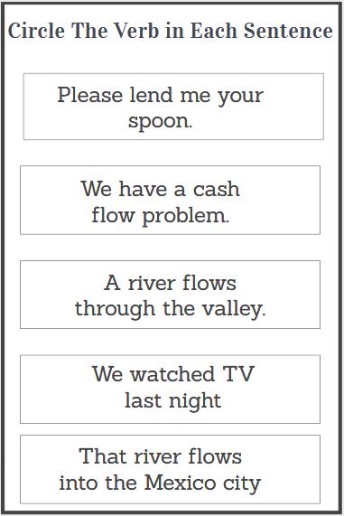circle the verb worksheet