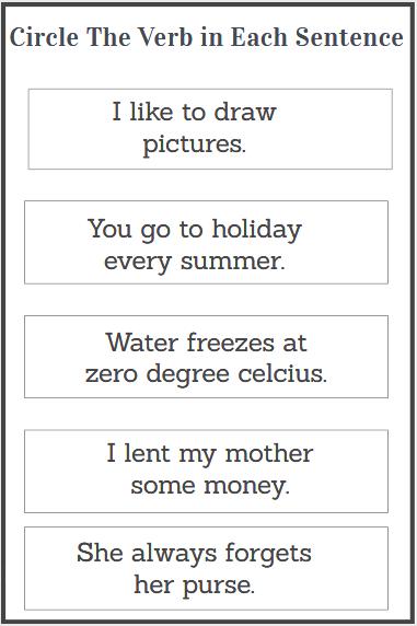 circle the verb worksheets