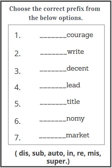 free printable prefixes worksheets