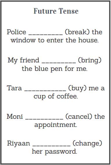 future tense worksheets